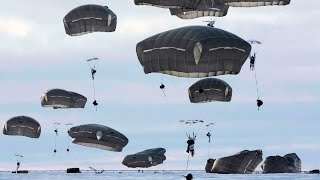 US Army Paratroopers Descend Into The Arctic - Exercise Spartan Pegasus 2017