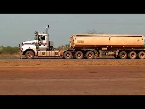 Roadtrains passing through Noomamah Northern Territory Australia