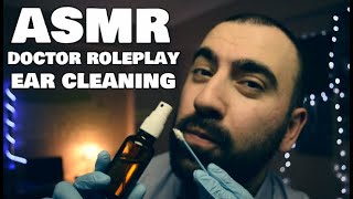 ASMR Ear Cleaning Doctor Roleplay (Spraying, Ear Exam, Flashlight & Massage)