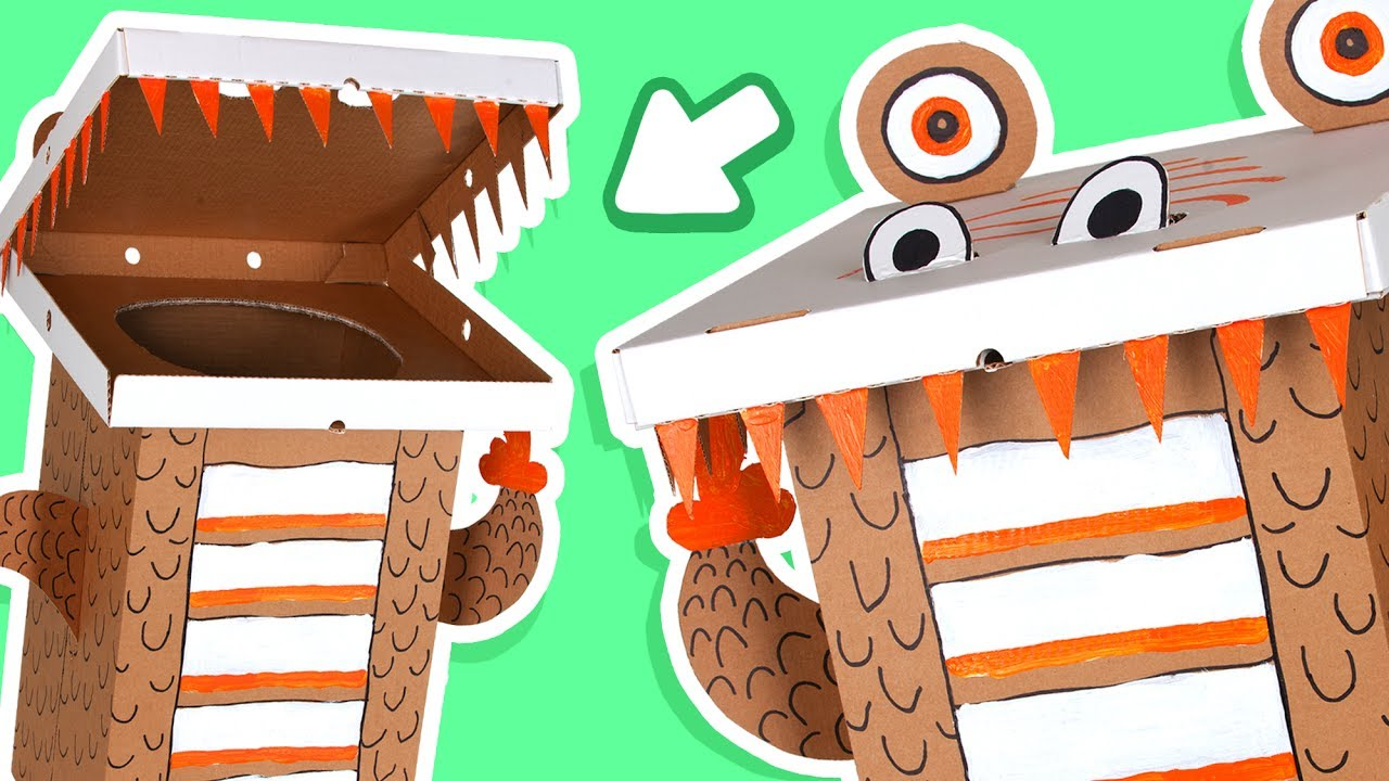 cardboard dinosaur dustbin crafts ideas with boxes diy