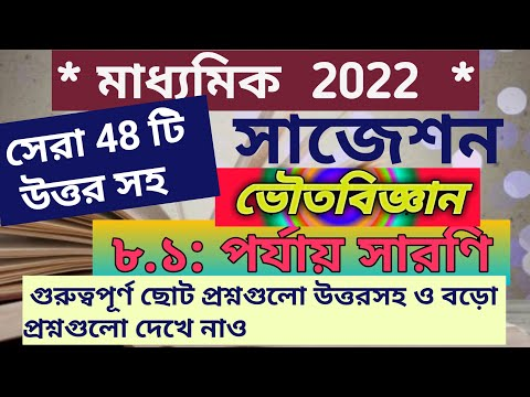 Madhyamik Physical Science Suggestion Periodic Table 2022 Wbbse/class10 Physical Science Suggestion