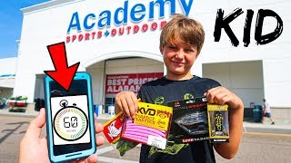 KID Grabs FREE Fishing Lures for 60 Seconds!! (Speed Challenge)