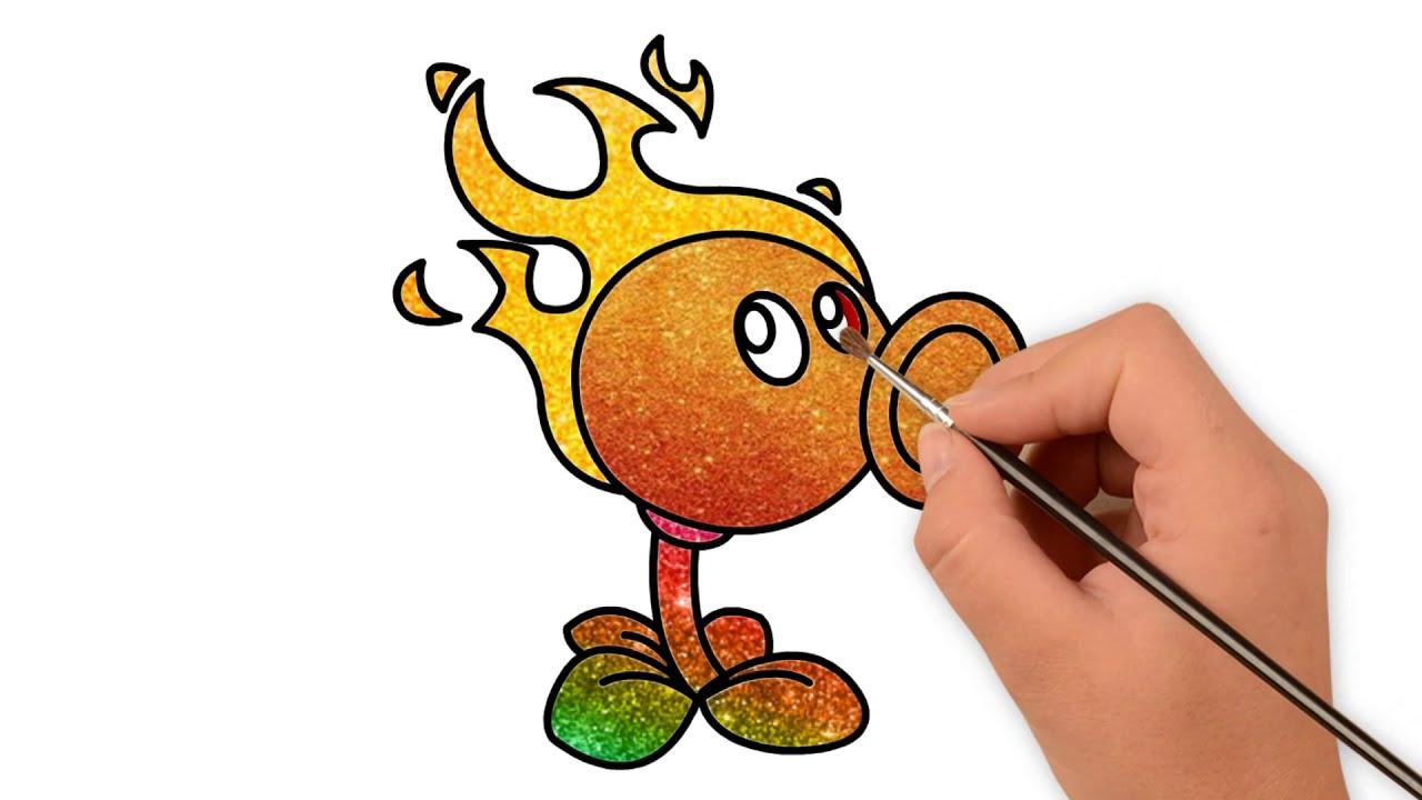 How To Draw Plants vs Zombies Fire Peashooter | Vẽ Cây Bắn Hạt Đậu Trong Game #titchannel
