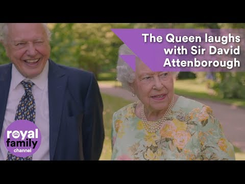 The Queen laughs with Sir David Attenborough about a sundial