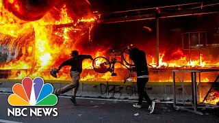 Rock Throwing Students Met With Tear Gas In Indonesian Labor Law Protests Nbc News Now
