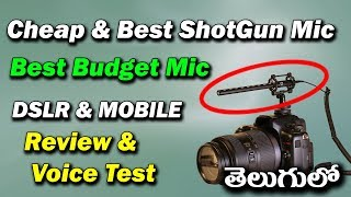 Best Shotgun Microphone for DSLR and Mobile Unboxing and Review, Testing in Telugu