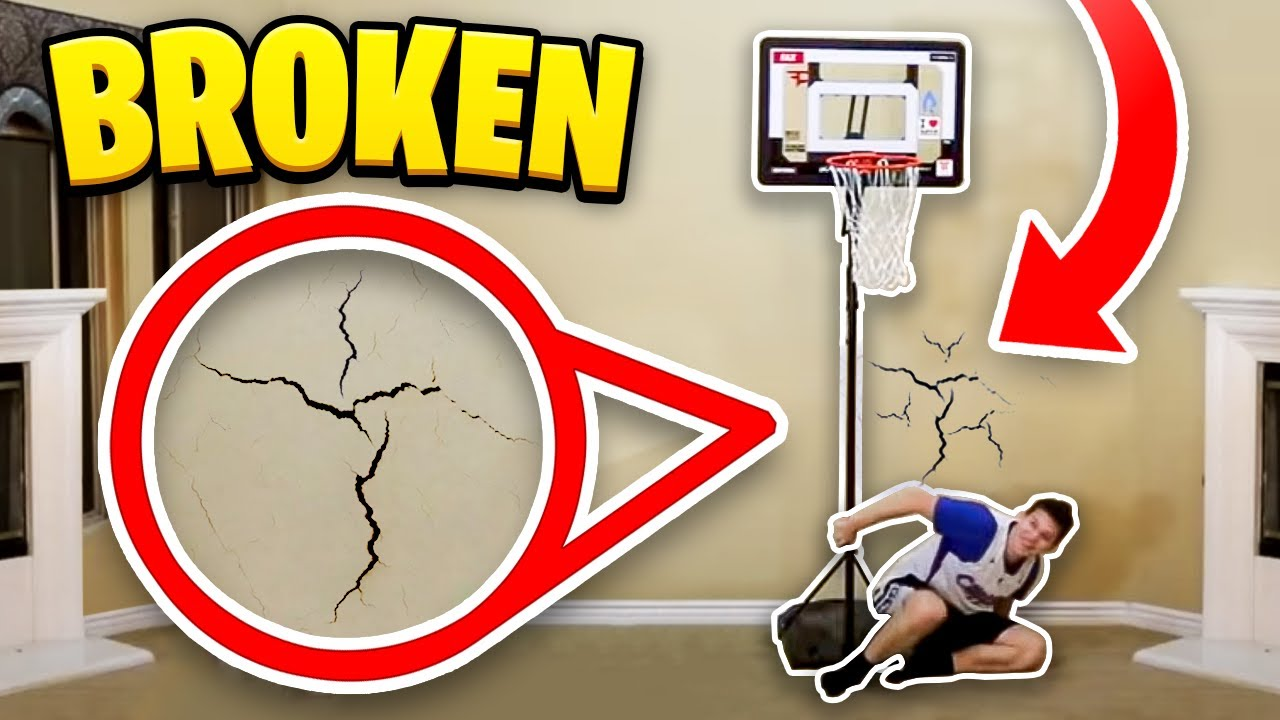 House 2 v 2 mini basketball gone wrong broken wall youtube for Basketball hoop inside garage