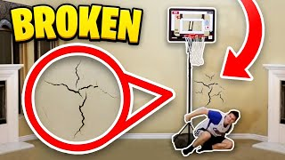 One of Jesser's most viewed videos: HOUSE 2 V 2 MINI BASKETBALL! GONE WRONG BROKEN WALL