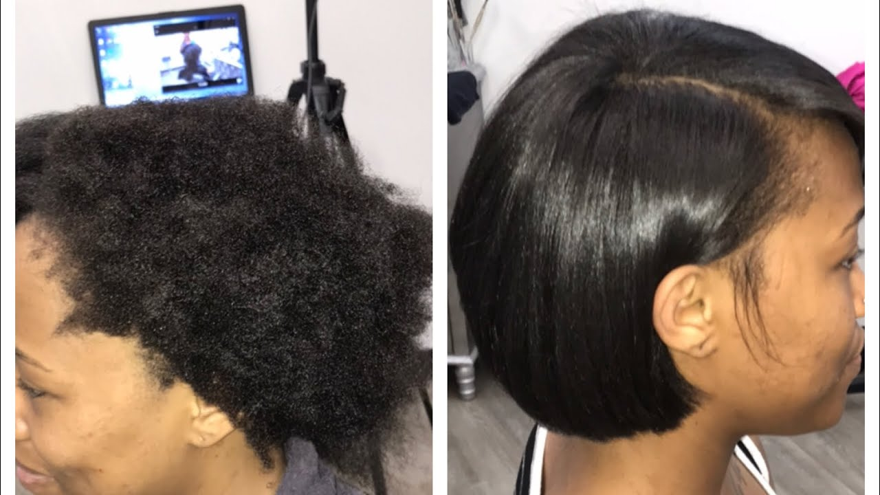 How To Do A Silk Press On Extremely Thick Short Hair Youtube