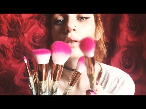 ASMR Makeup Brushes, Ear Brushing, Skin Sounds, Tapping, Hand Sounds, No Talking