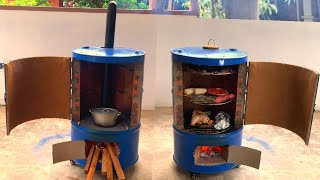 Creative concept 2 in 1 outdoor multi purpose oven from cement and non iron barrel