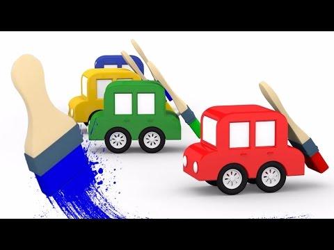 Развивающие мультики 4 машинки. Фигуры для детей. 3Д мультфильмы