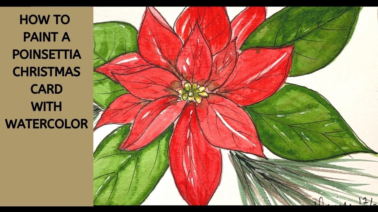 How to paint a Poinsettia in watercolor