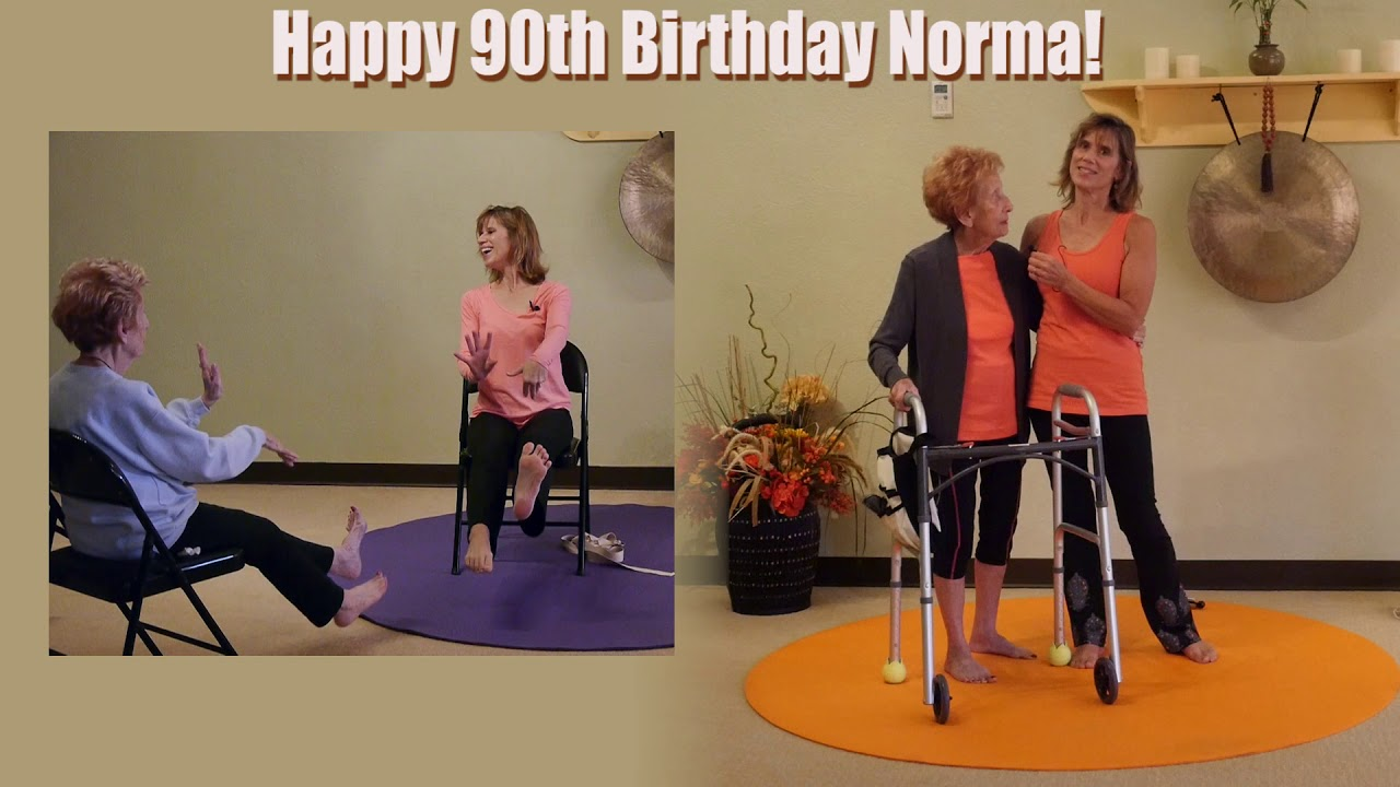 Chair yoga elderly - Happy 90th Birthday To A Very Special Chair Yoga Student Norma With Sherry Zak Morris