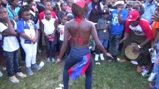 HONDURAN GIRL DANCES HONDURAN GARIFUNA PUNTA DANCE AT HONDURAN DAY PARADE 2017 BRONX NY