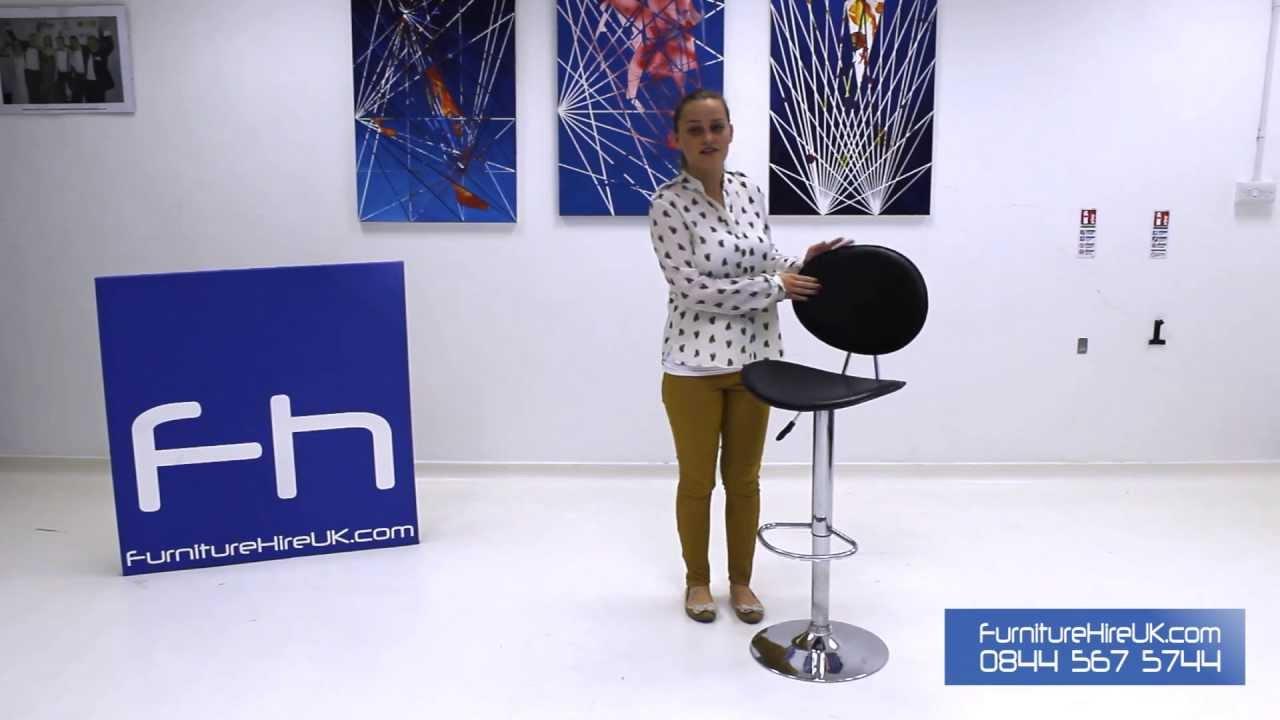 Black and Chrome Stool Demo - Furniture Hire UK