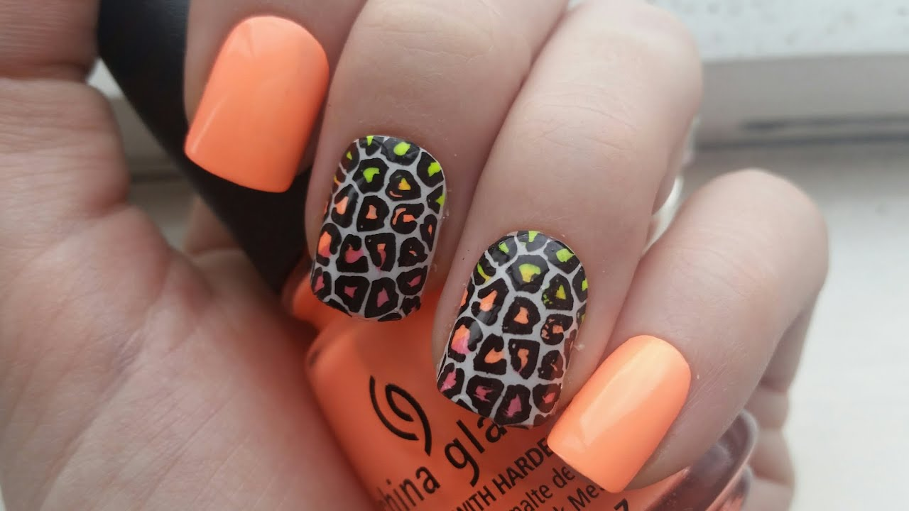 Spring/Summer Neon Ombre Leopard Nail Art - Advance Nail Stamping ...