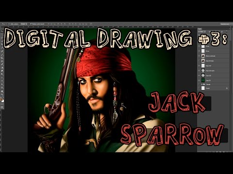 Digital Drawing (speed) #3: Jack Sparrow / Johnny Deep portrait (Pirates of the Caribbean)