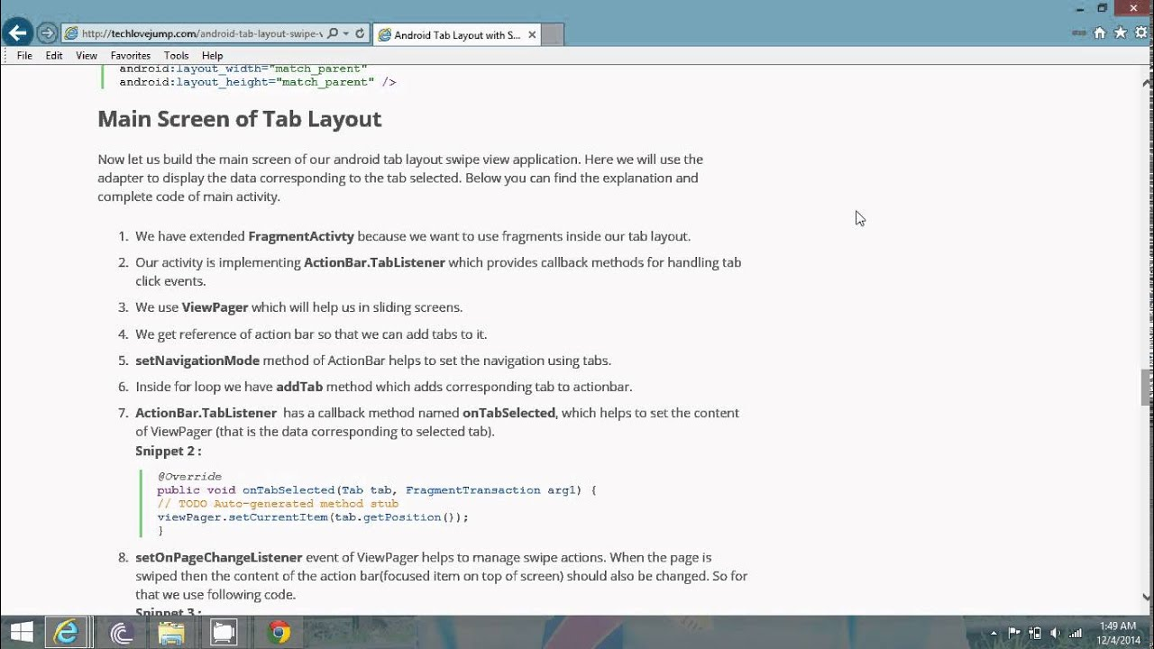 Android Tab Layout with Swipe views tutorial – Example