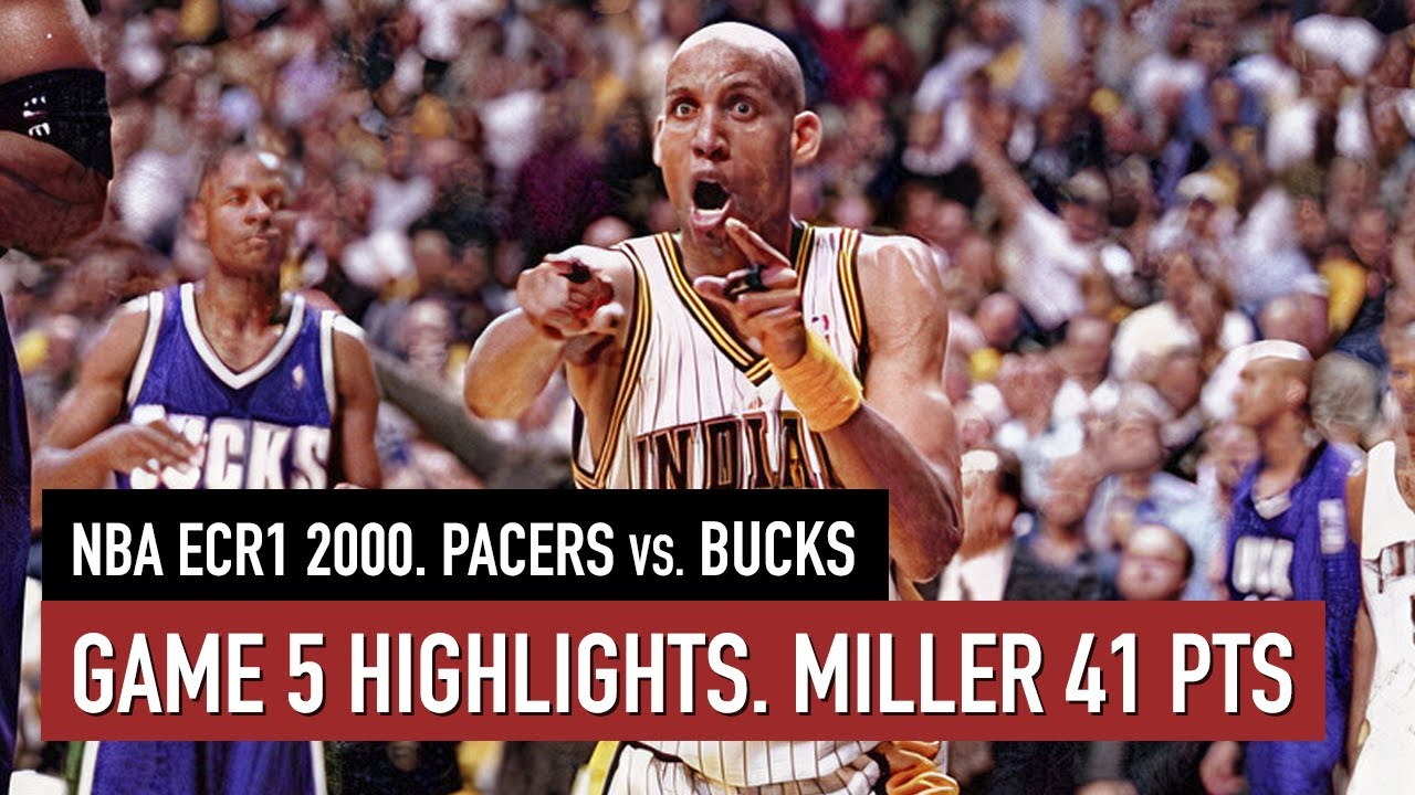 Throwback NBA ECR1 2000. Indiana Pacers vs Milwaukee Bucks Game 5 Highlights HD. Miller 41 pts
