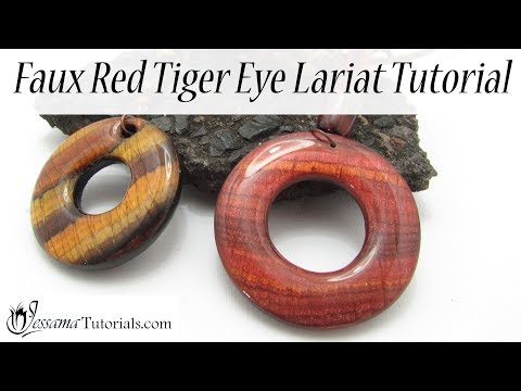 Faux Polymer Clay Technique: Faux Red Tiger Eye Lariat Tutorial
