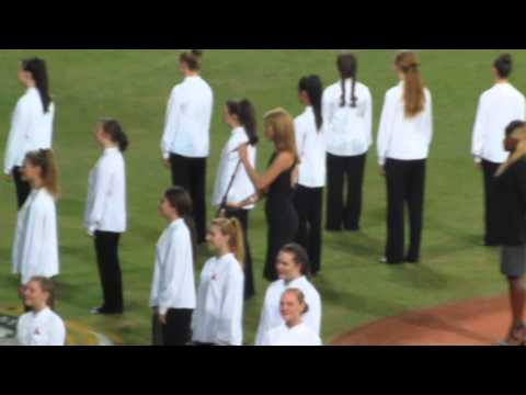 Singing of the US and Australian national anthems before the Dodgers-Diamondbacks game 3/22/2014