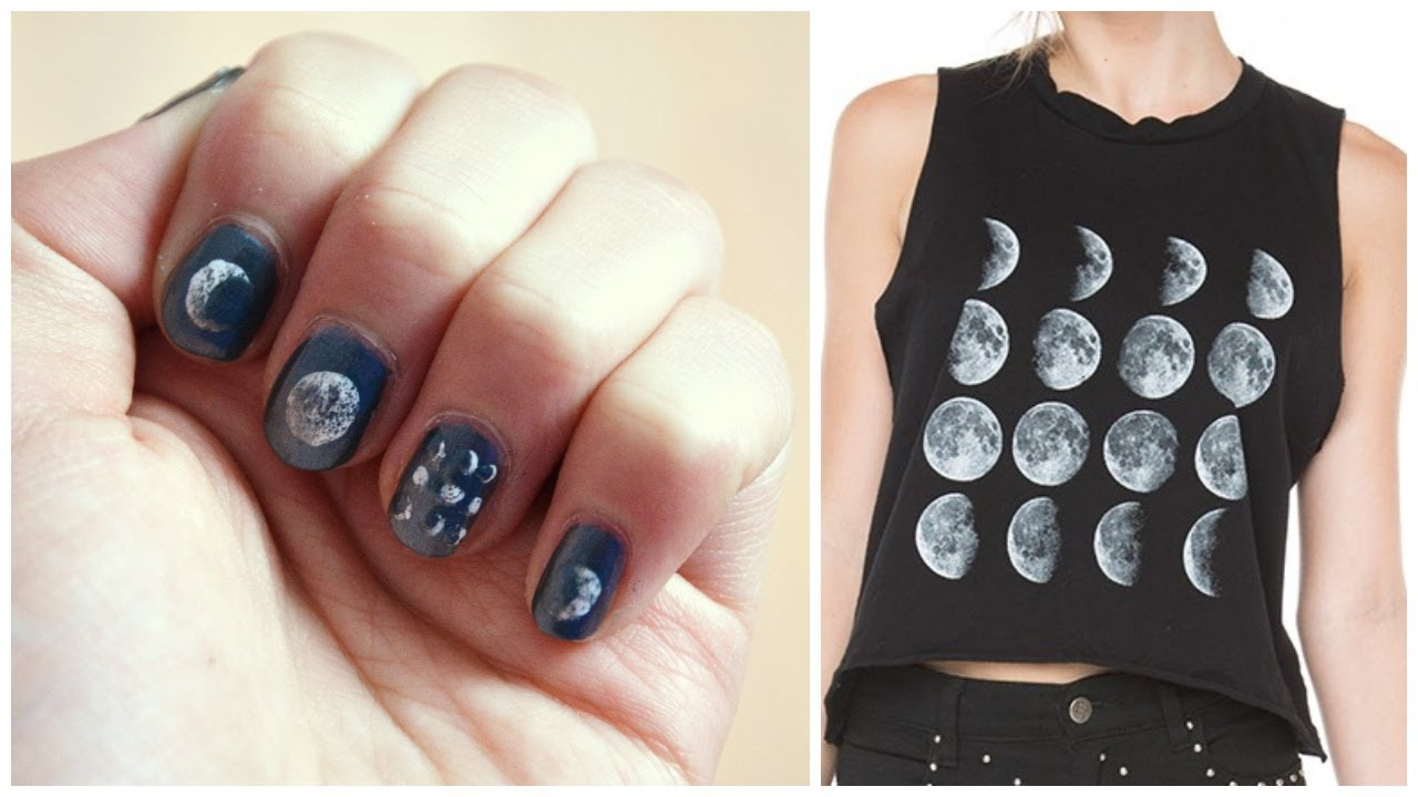 Diy Moon Phase Nails Brandy Melville Inspired Youtube