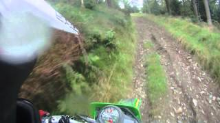 Kawasaki KDX200 Steep Hill Climb In Wales Forestry Commission