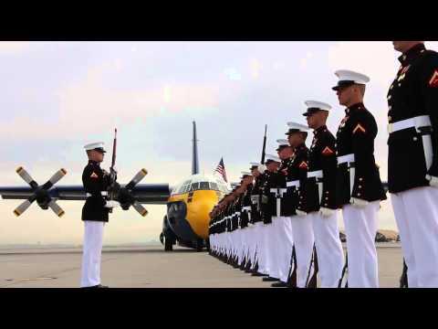 "MUST WATCH!  Marine Corps Silent Drill Platoon & Blue Angels ""Fat Albert""!"