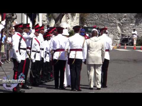 Governor Sir Richard Gozney Inspects Parade Peppercorn Ceremony Bermuda April 27 2011