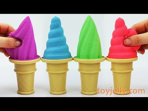 DIY How to Make Kinetic Sand Soft Sherbet with Ice Cream Cone Molds Learn Colors Baby Finger Song