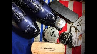 ASMR What to do/How to shine brand new pair of Allen Edmonds Cornwallis semi brogues shoes