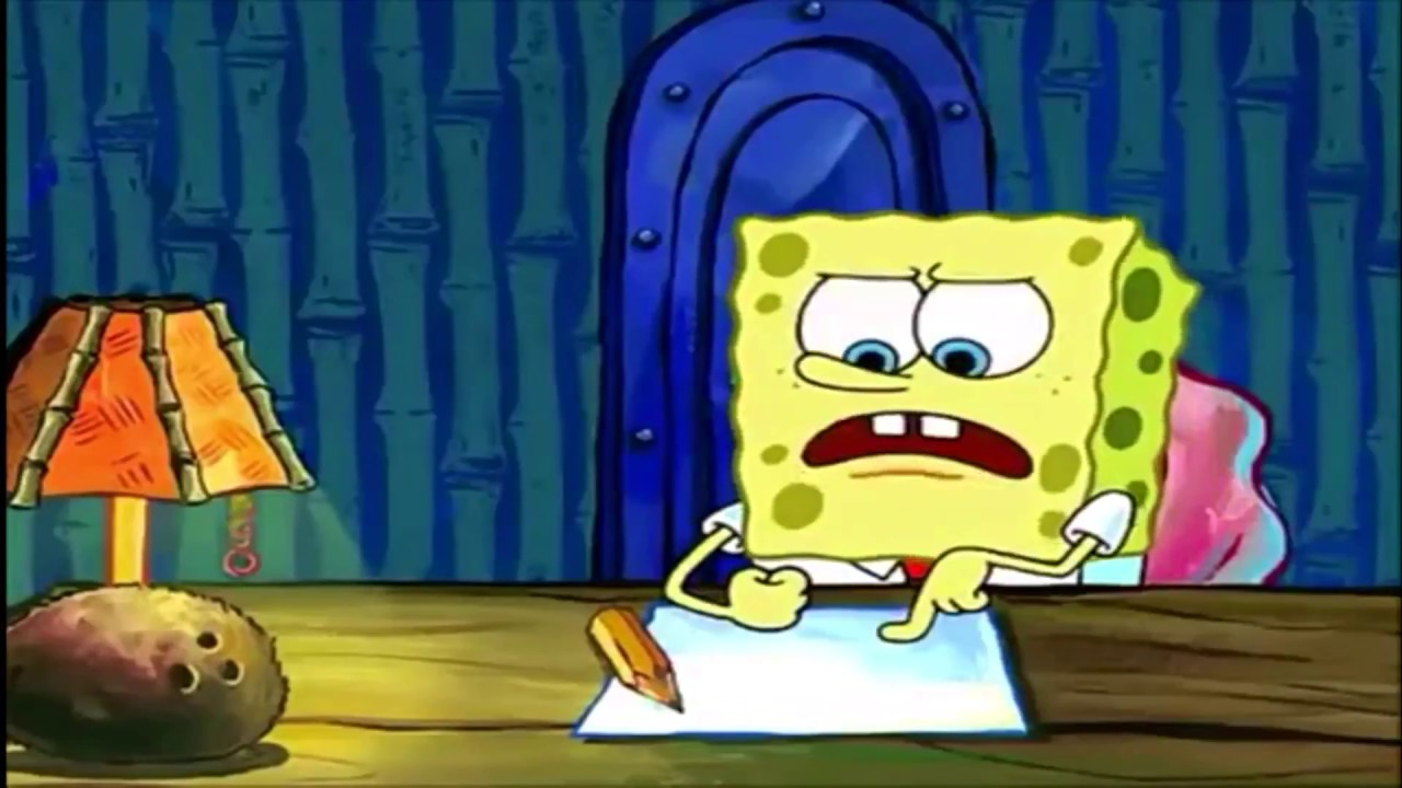 spongebob squarepants - writing essay - full screen - 16:9 - meme