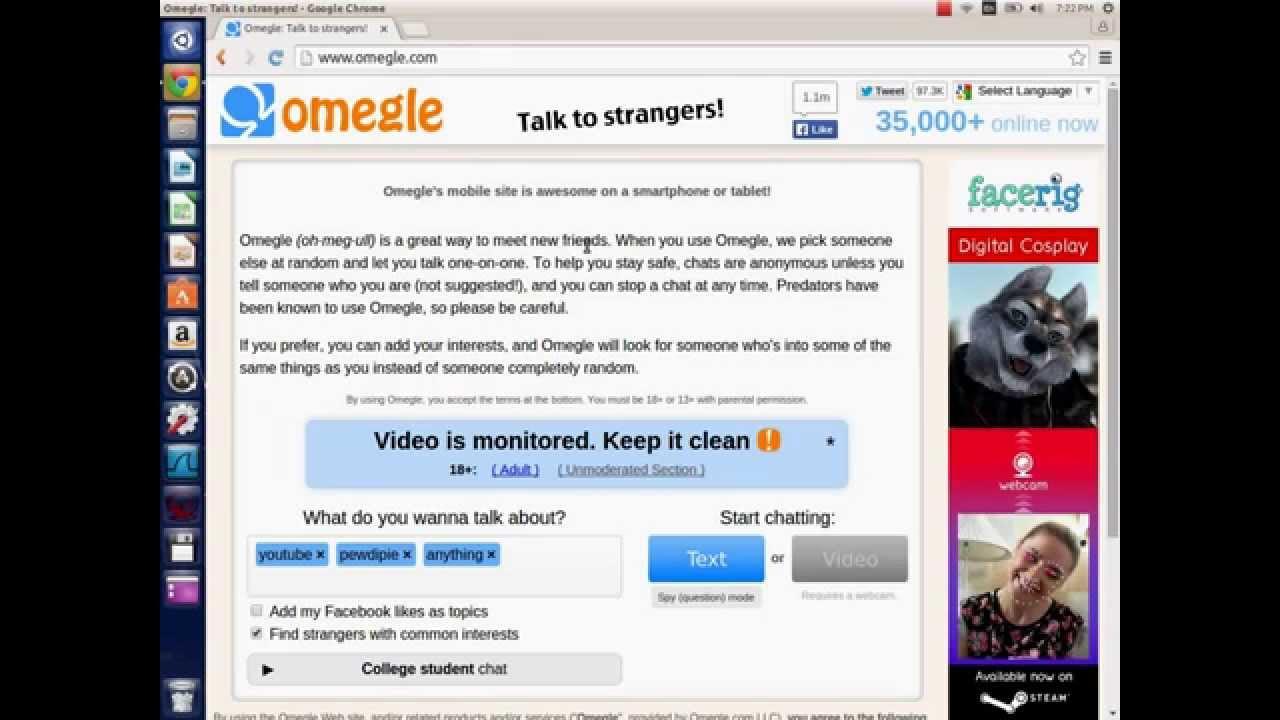 omegle mobile language