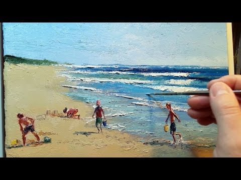 Beach Fun Sand Castles – How to – Oil Painting – Palette Knife | Brush Landscape Ocean Sea Dusan