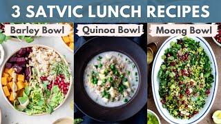 3 Easy &amp Healthy Satvic Lunch Recipes (Barley Bowl + Coco Quinoa Bowl + Moong Bowl)