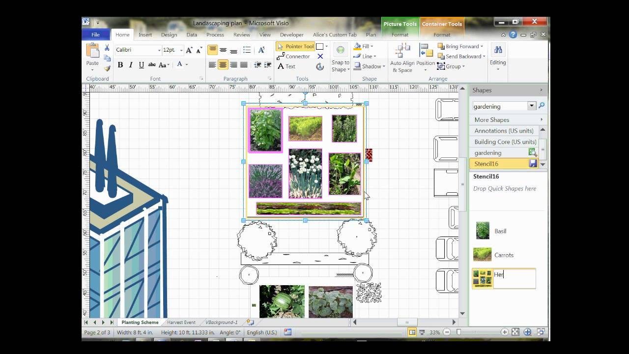 Visio 2010 community garden layoutwmv youtube for Visio garden template