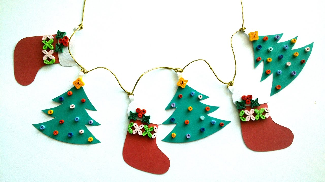 Christmas Decorating Ideas: DIY Quilling Paper Christmas Garland   YouTube