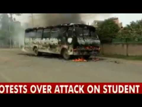 Protests In Allahabad Over Law Student's Murder Bus Set On Fire