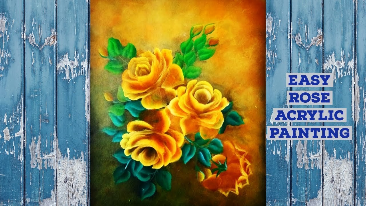 Acrylic Painting Lesson - How To Paint A Rose// Easy Rose Painting For Beginners #51/ASMR ...