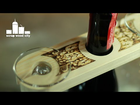 DIY Wine Bottle Glass Display with wood burning