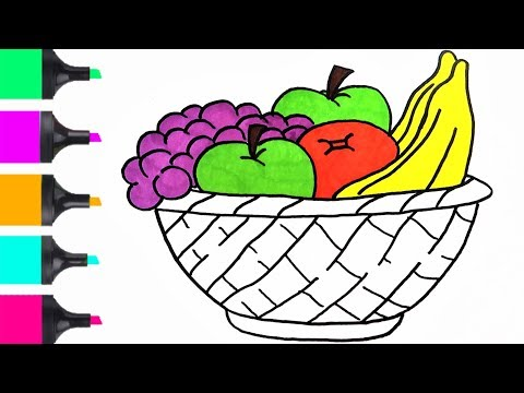How To Draw Fruit Basket Coloring Easy  | Coloring For Kids | Art Tutorials For Kids