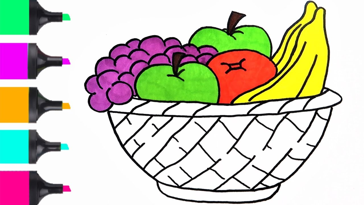 How To Draw Fruit Basket Coloring Easy Coloring For Kids Art