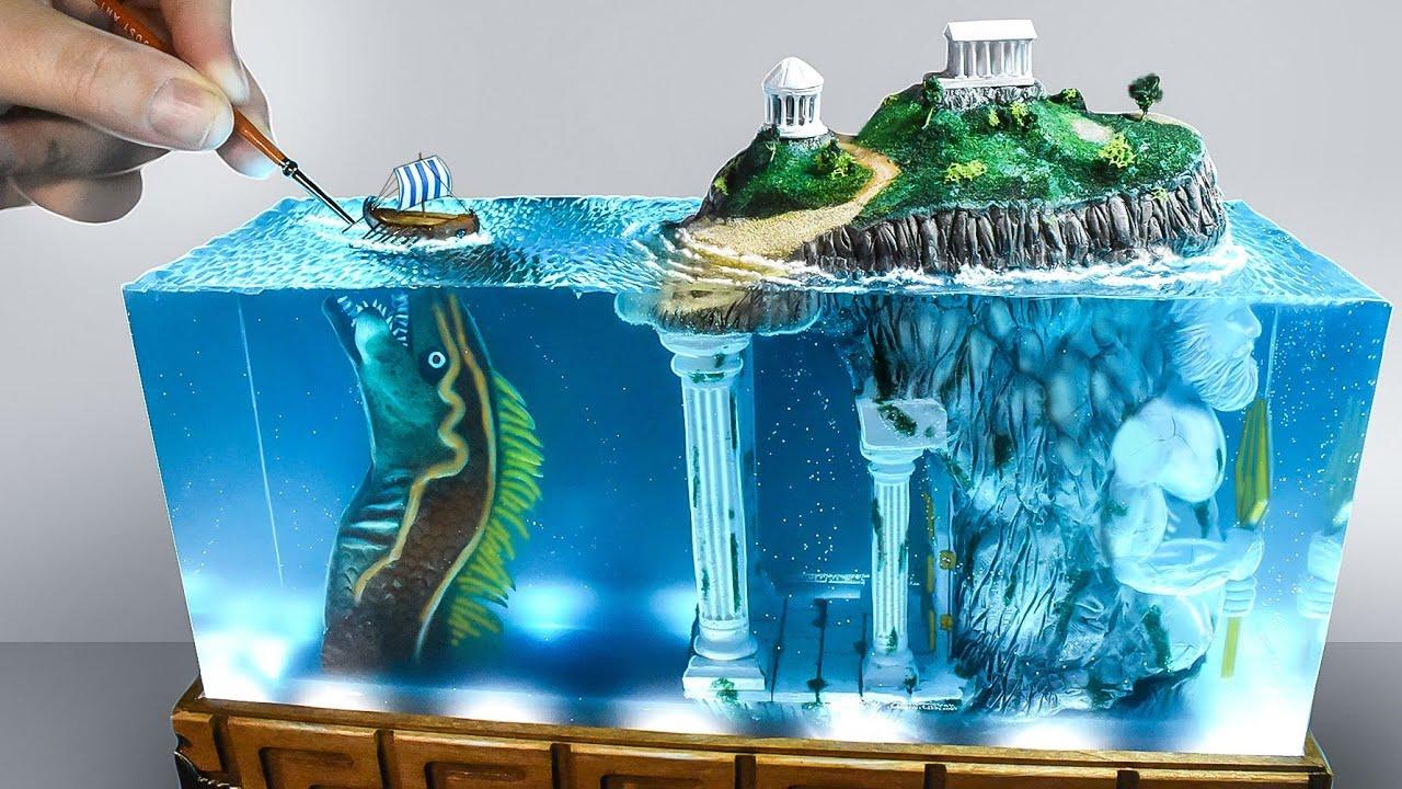 LOST ATLANTIS & GUARDIAN- How to make Greek Mythology Diorama-lamp/ epoxy resin art/ polymer clay