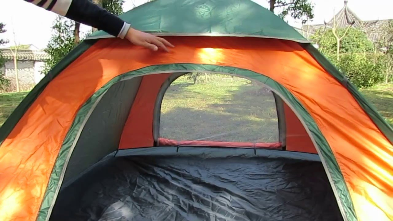 3 4 man single layer automatic camping tent and folding way of