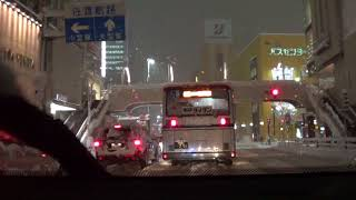 Driving in the snow at night in Niigata City (capital city of Niigata Prefecture, Japan)