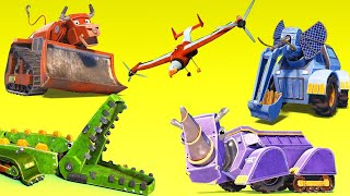 BEST OF TRUCKS ANIMALS CARTOON ! crocodile, bulldozer, rhinoceros, excavator, elephant - AnimaCars !