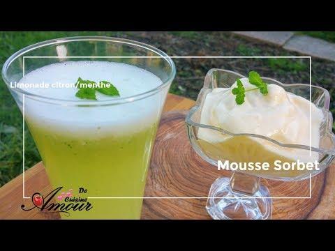 limonade citron et menthe, sorbet à l'orange en mousse au thermomix