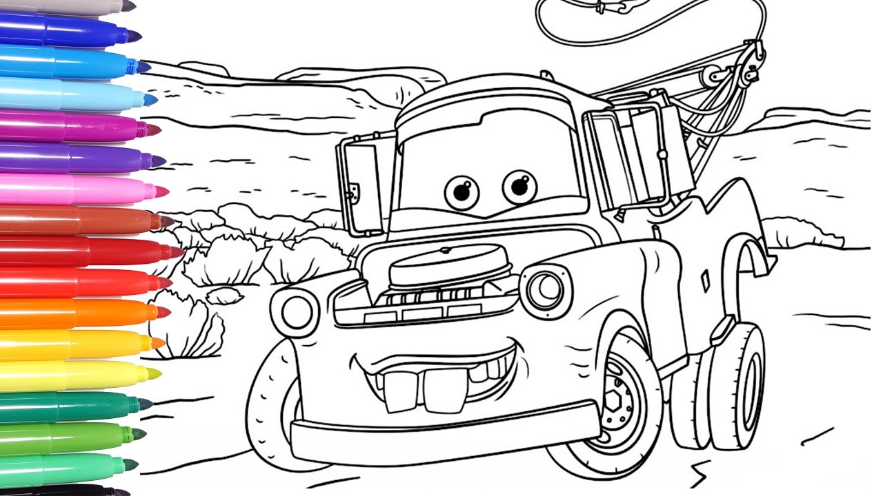 disney cars 3 disney cars coloring pages learn colors for kids 1 tow mater - Disney Cars Coloring Pages