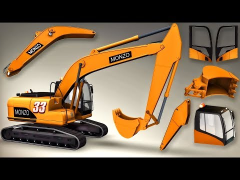 Excavator Truck Builds 3D Animation Game Cartoon For Children | Excavator Truck Factory For Kids